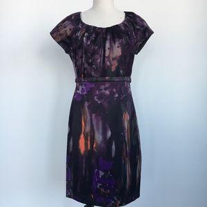 Tahari Purple Print Shift Dress